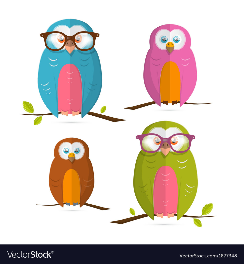 Owls set isolated on white background vector | Price: 1 Credit (USD $1)