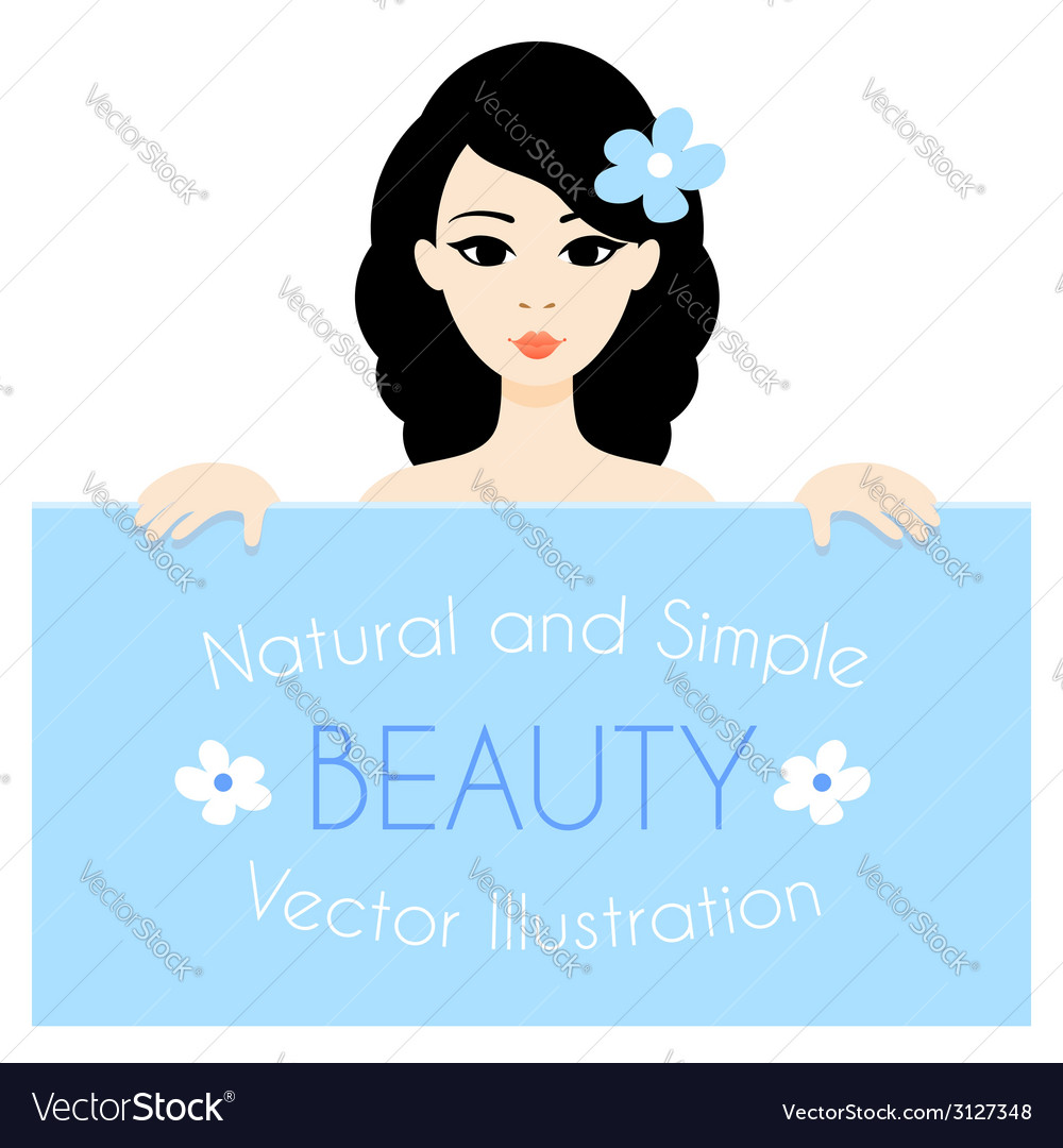 Portrait of the cartoon brunette girl holding the vector | Price: 1 Credit (USD $1)