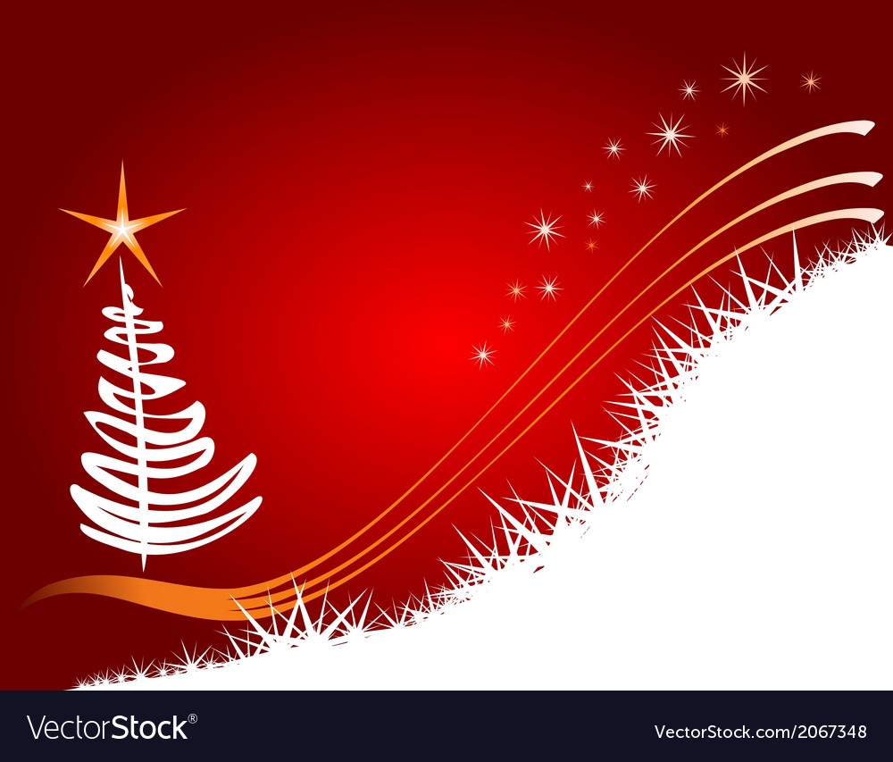 Red christmas background with tree vector | Price: 1 Credit (USD $1)