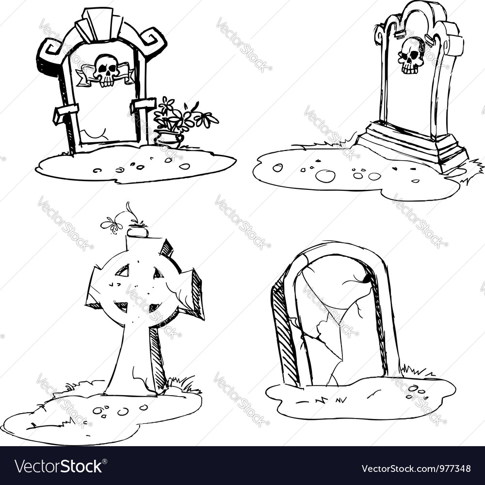 Scary tombstones in halloween night vector | Price: 1 Credit (USD $1)