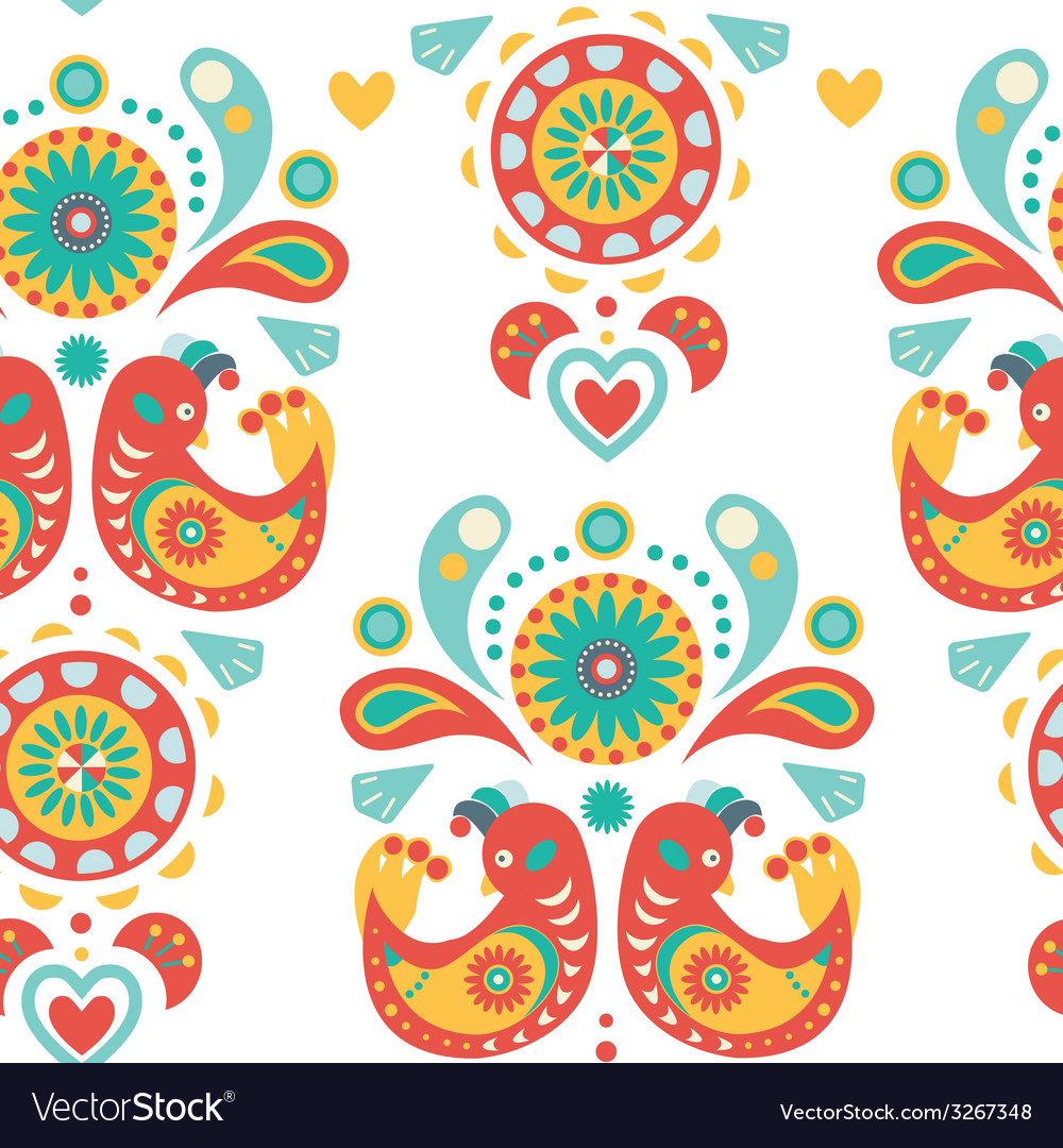 Seamless colorful ornament with birds vector | Price: 1 Credit (USD $1)