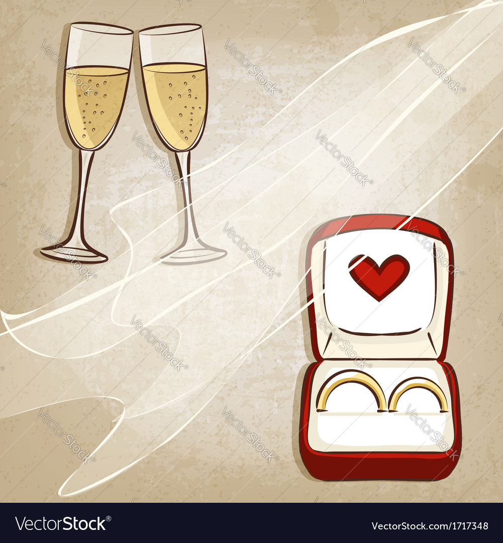 Wedding rings in box vector | Price: 1 Credit (USD $1)