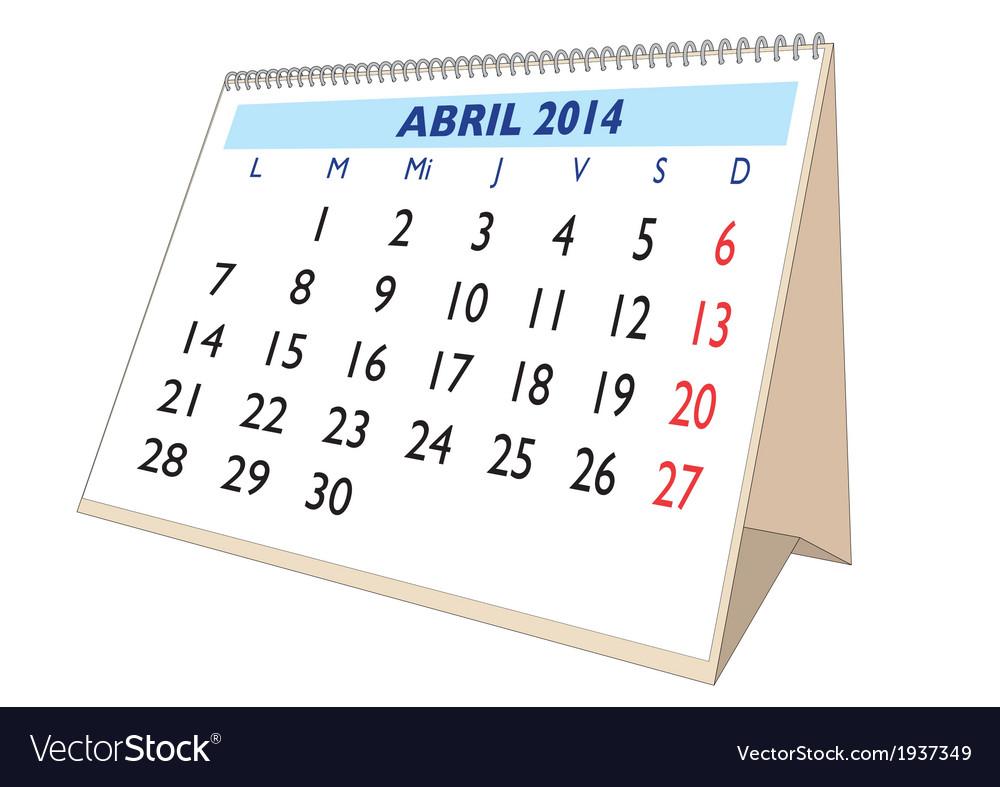 April 2014 spanish vector | Price: 1 Credit (USD $1)
