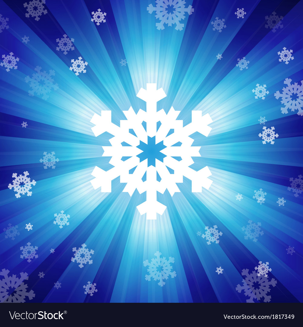Blue color burst of light with snowflakes vector | Price: 1 Credit (USD $1)