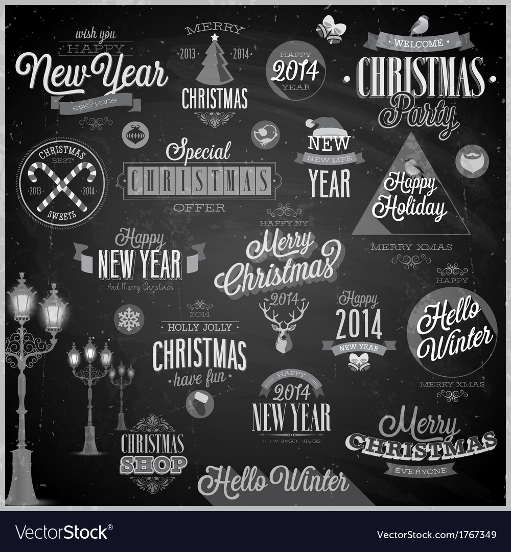 Christmas emblems2 chalk vector | Price: 1 Credit (USD $1)