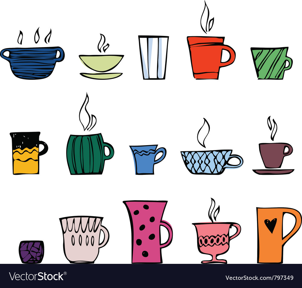 Color cups of tea or coffee vector | Price: 1 Credit (USD $1)