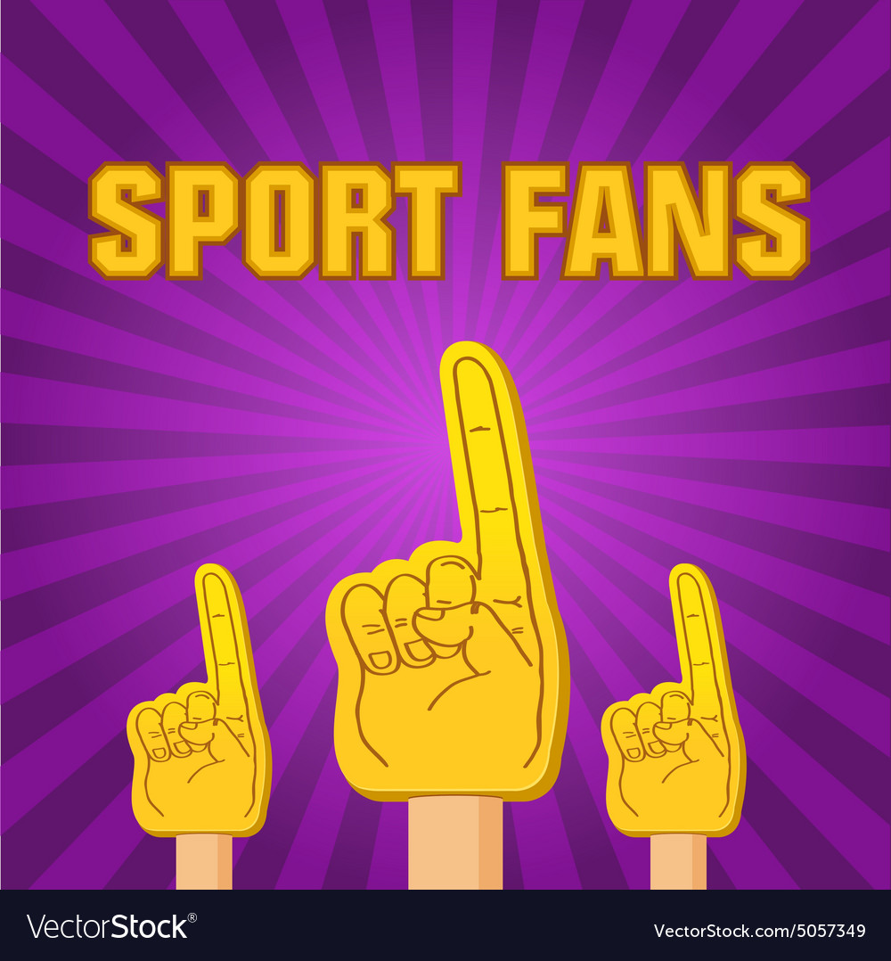 Color sport fans foam fingers on the retro vector