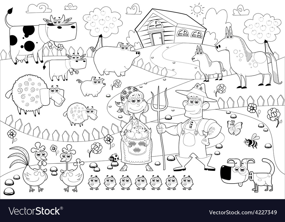 Funny farm family in black and white vector | Price: 3 Credit (USD $3)
