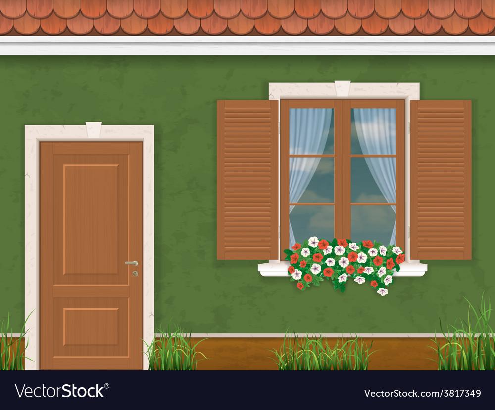 Green wall door and window380400 vector | Price: 1 Credit (USD $1)