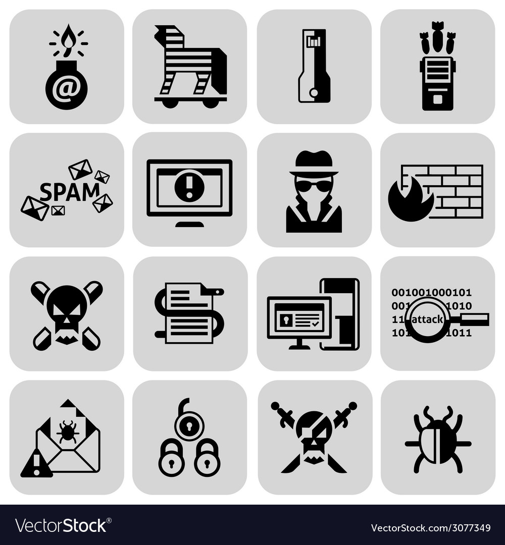 Hacker icons set black vector | Price: 1 Credit (USD $1)