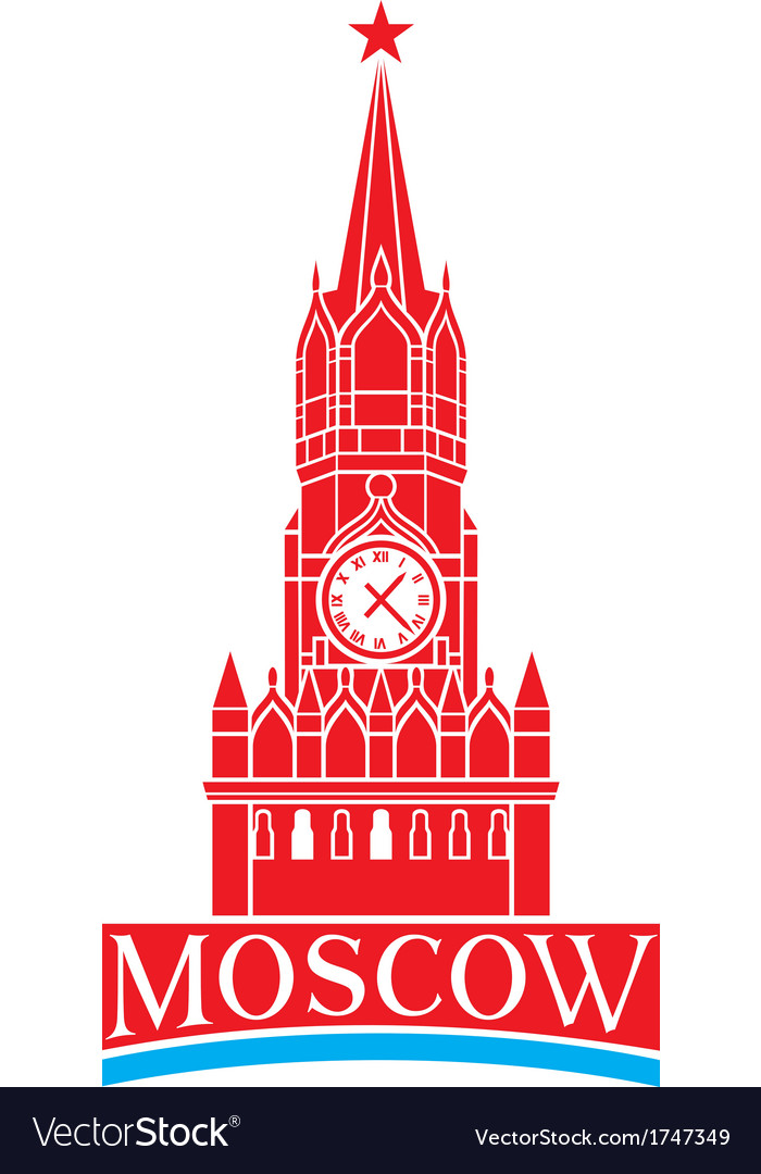 Kremlin tower with clock in moscow - russia vector | Price: 1 Credit (USD $1)