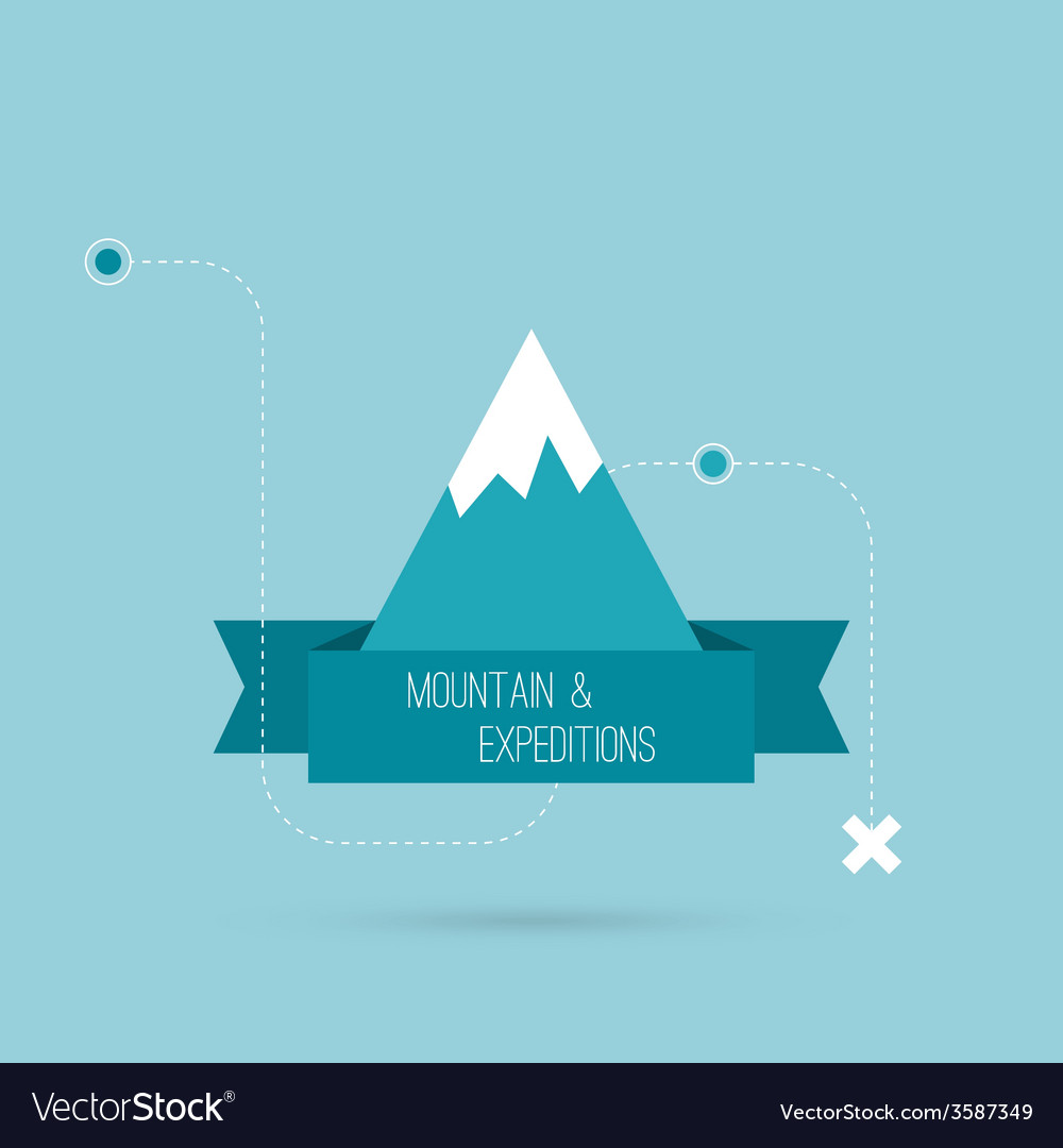 Mountains with ribbon vector | Price: 1 Credit (USD $1)