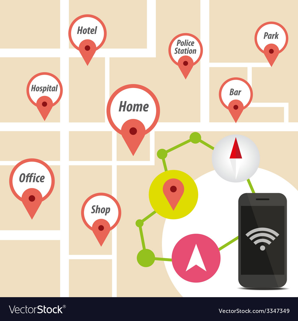 Navigator smart phone with icon on map vector | Price: 1 Credit (USD $1)