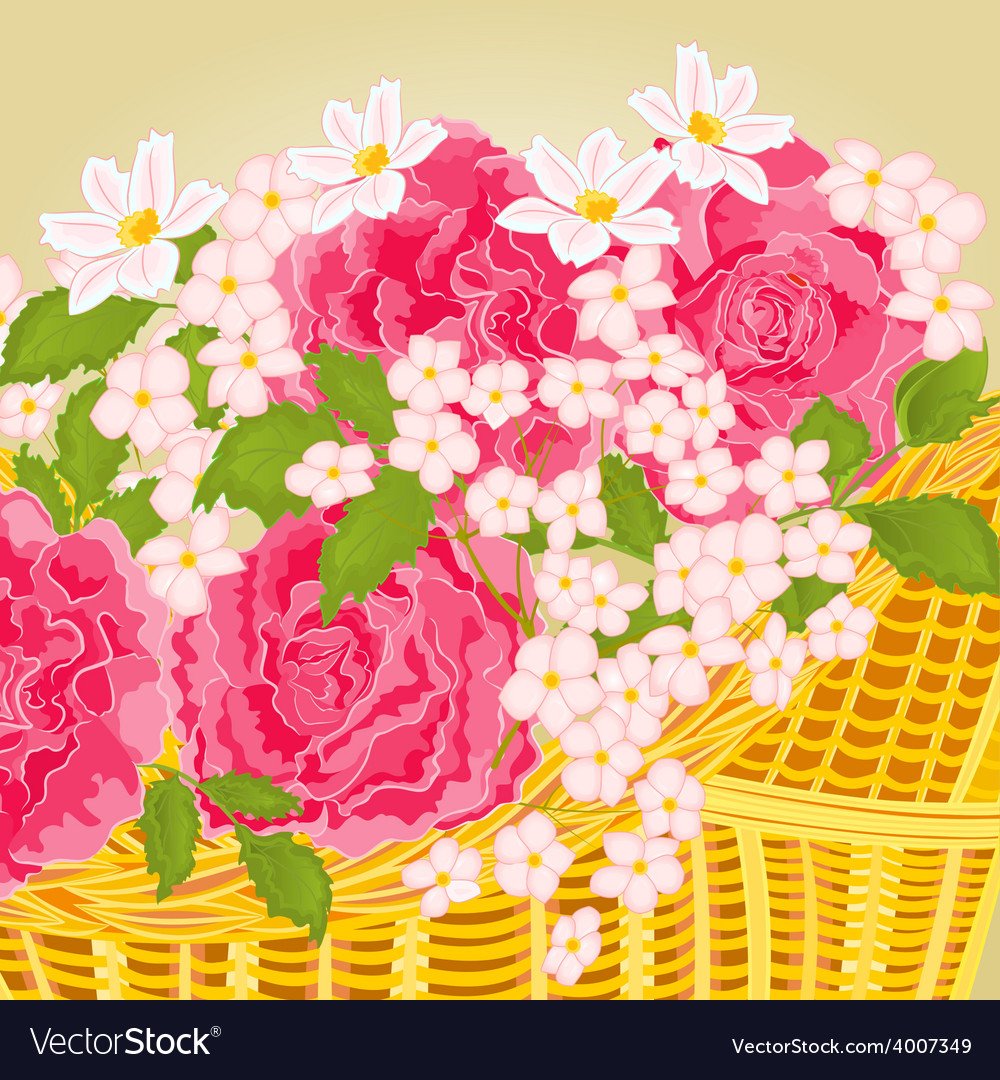 Roses and small flowers floral background vector | Price: 1 Credit (USD $1)