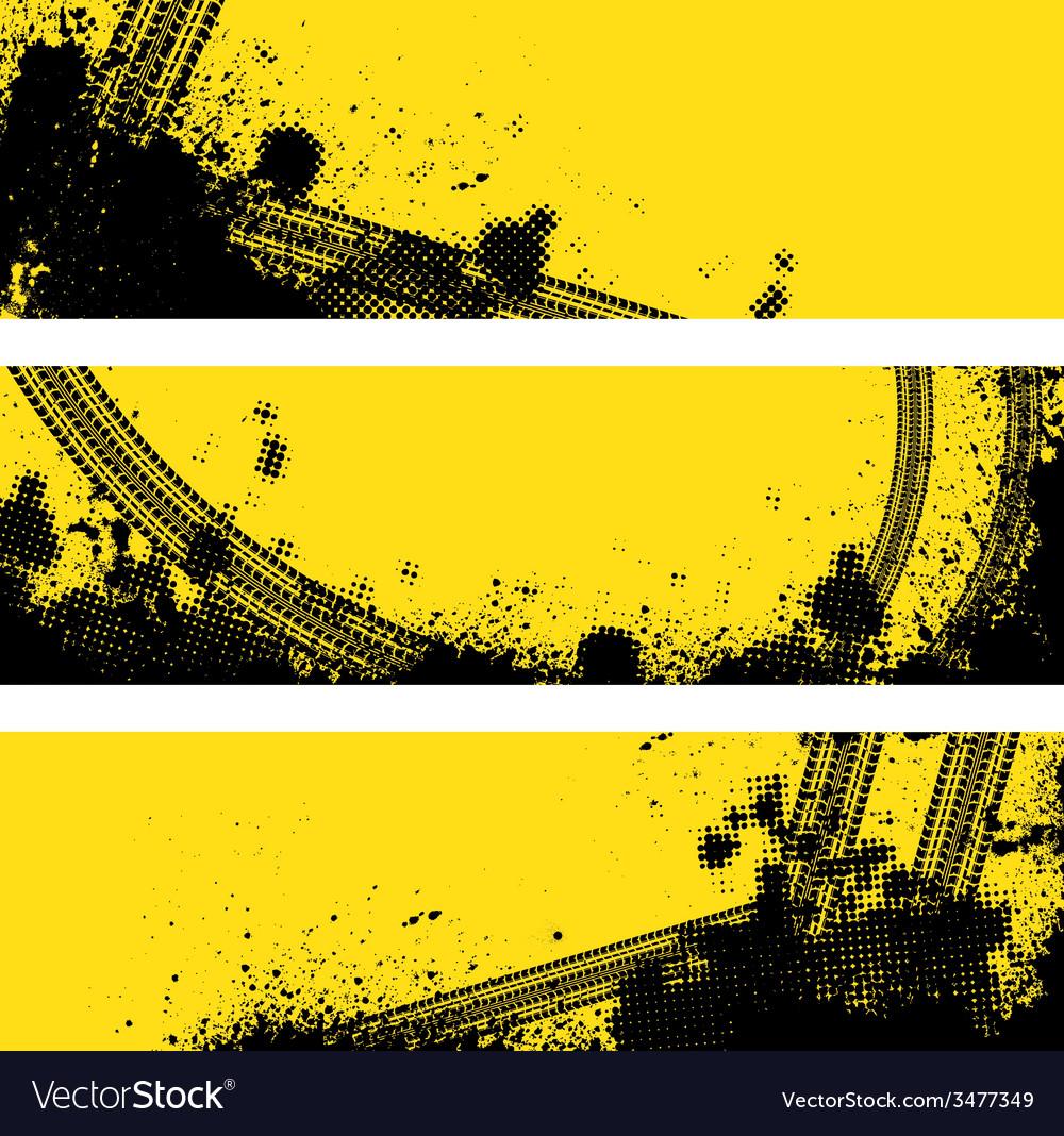 Three tire track banner vector | Price: 1 Credit (USD $1)