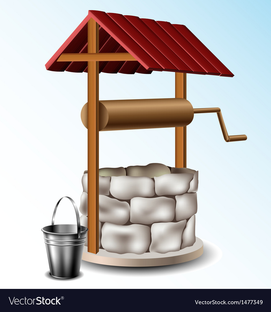 Well with metal bucket vector | Price: 1 Credit (USD $1)