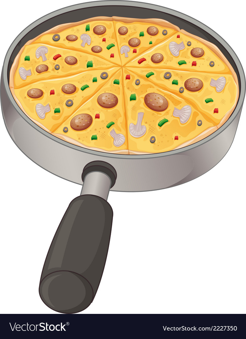A pan with a pizza vector | Price: 1 Credit (USD $1)