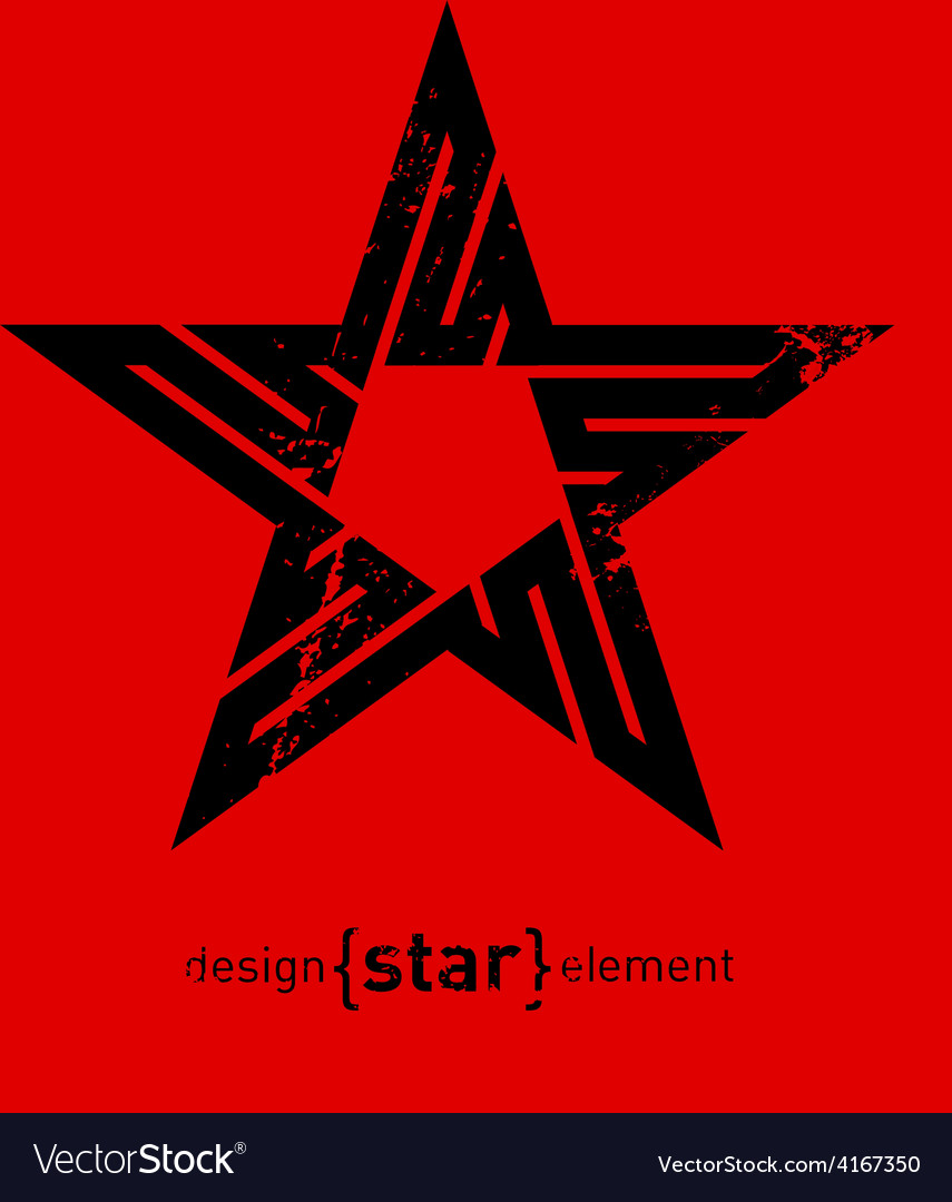 Abstract design element black star with grunge vector | Price: 1 Credit (USD $1)