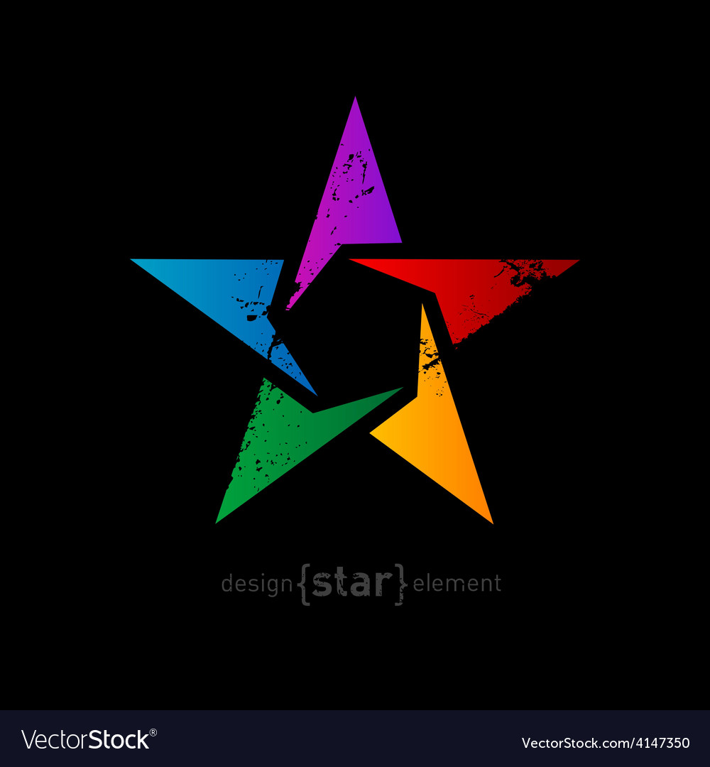 Abstract rainbow star with vintage effect on black vector | Price: 1 Credit (USD $1)