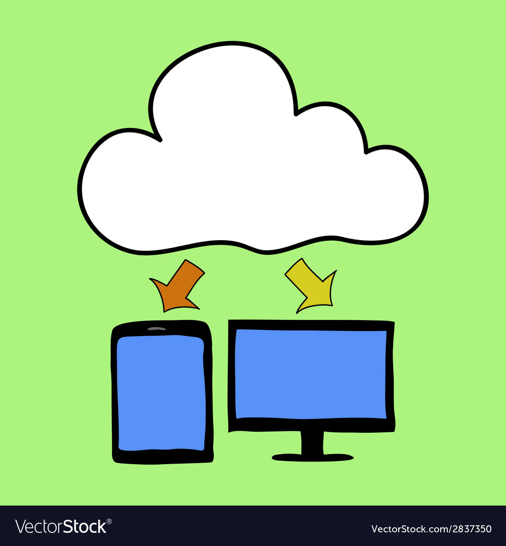 Cartoon style cloud computing vector | Price: 1 Credit (USD $1)