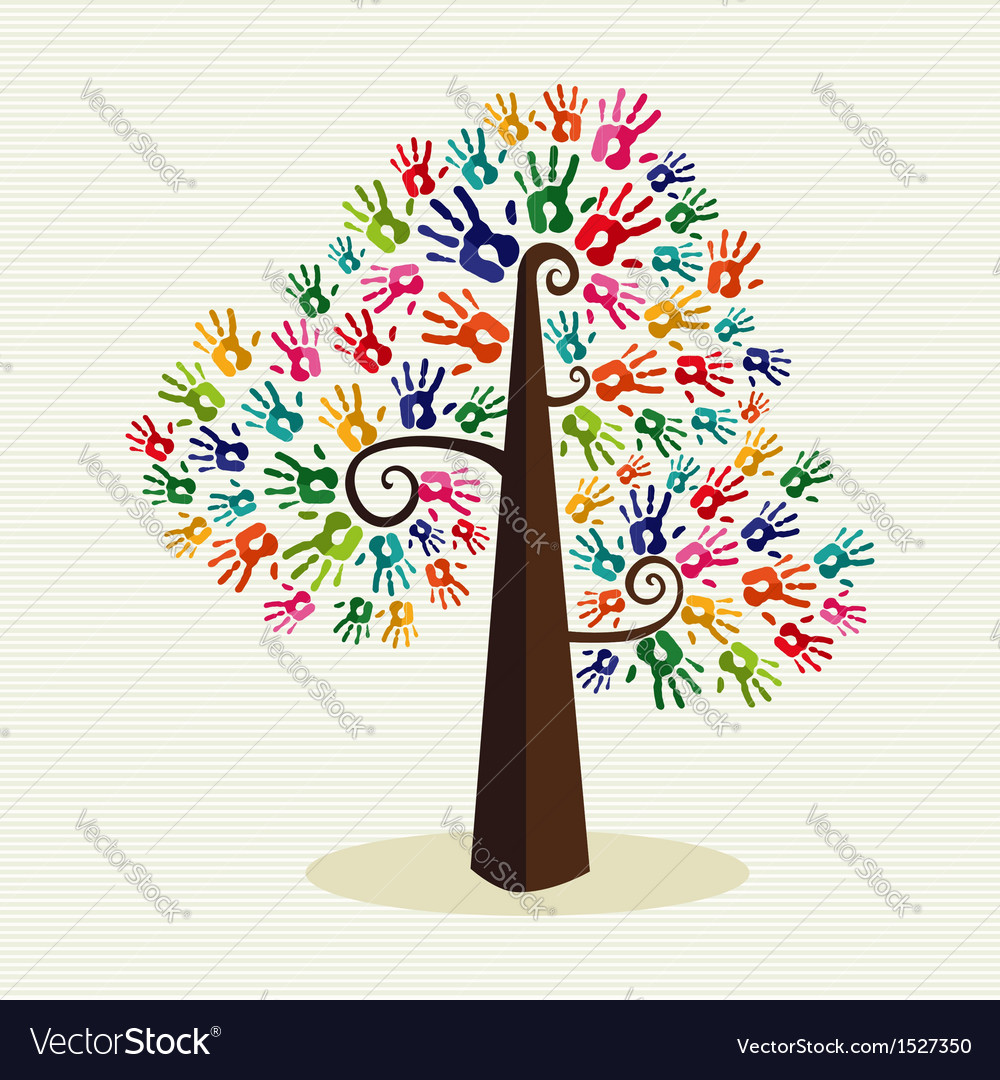 Colorful solidarity hand prints tree vector | Price: 1 Credit (USD $1)
