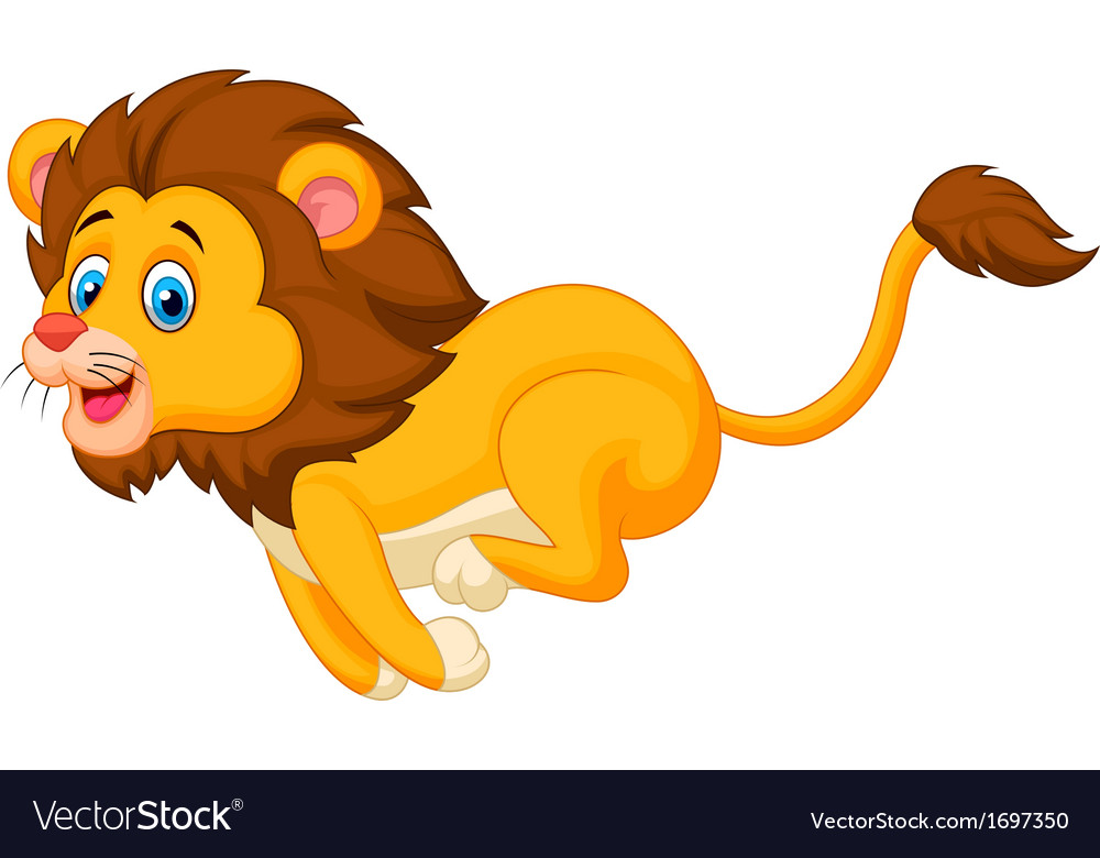 Cute lion cartoon running vector   Price: 1 Credit (USD $1)