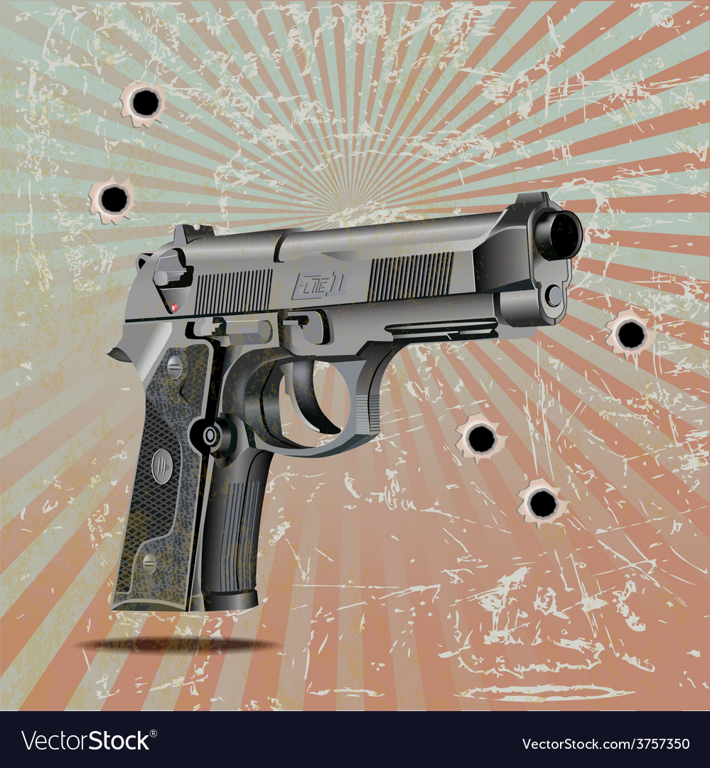 Handgun elite on vintage vector | Price: 3 Credit (USD $3)