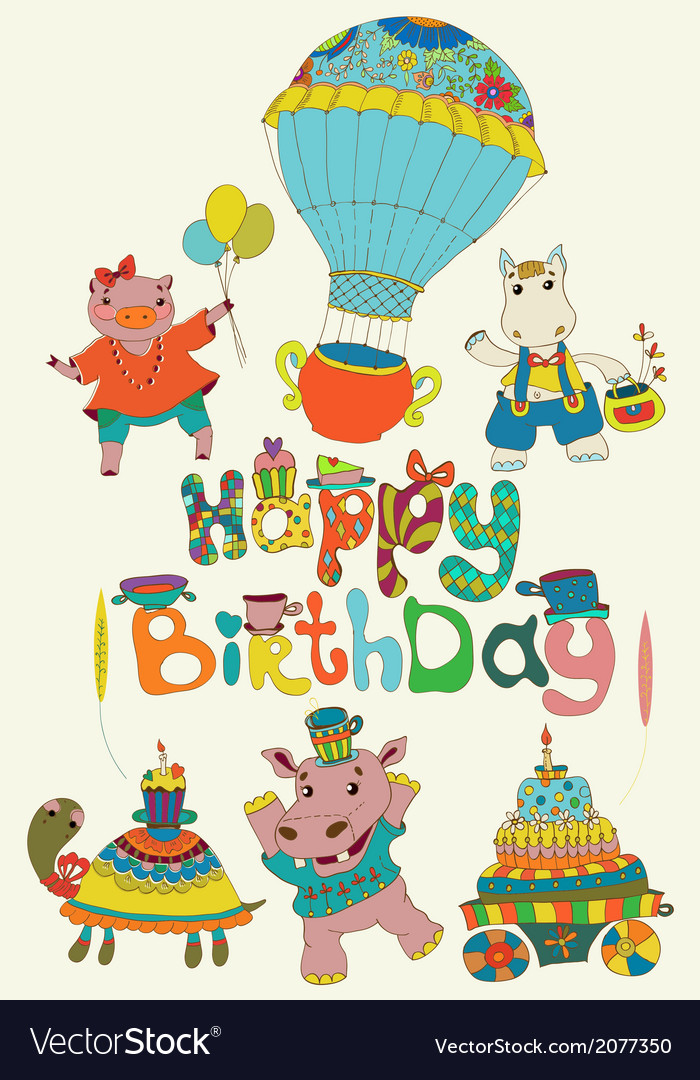 Happy birthday colorful background with funny vector | Price: 1 Credit (USD $1)