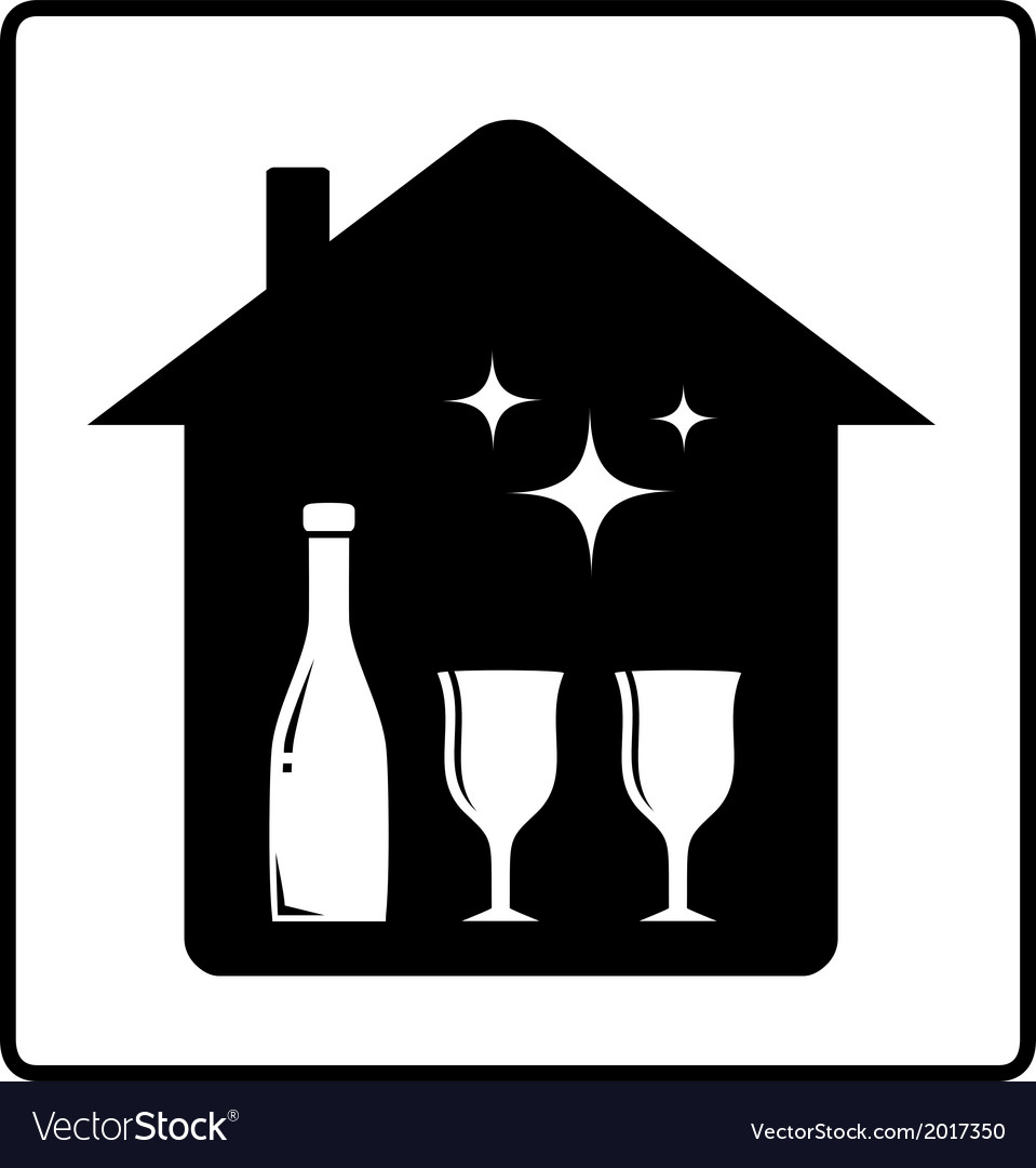 Home with bottle and glass vector | Price: 1 Credit (USD $1)