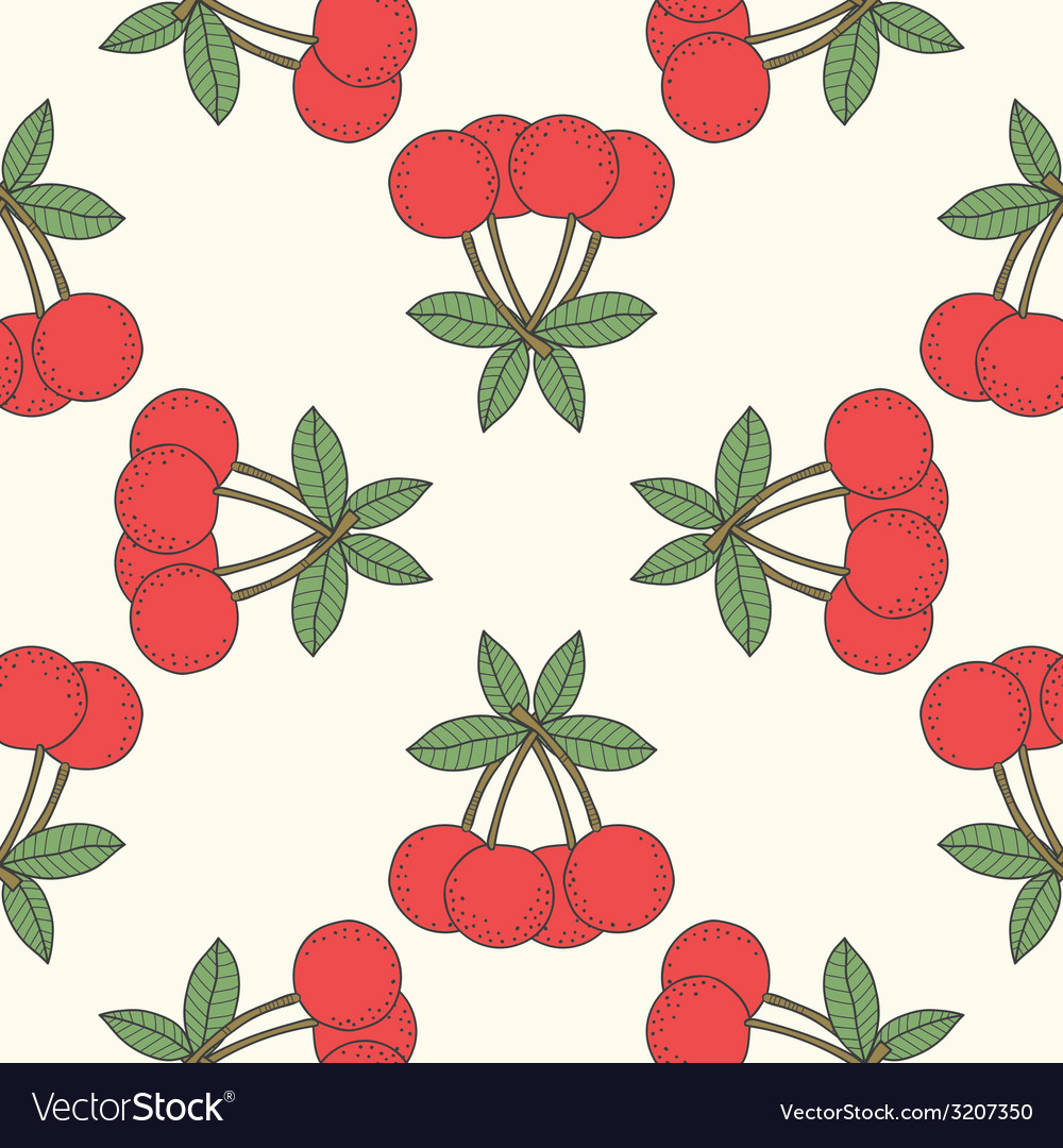 Seamless cherry pattern fruit background vector | Price: 1 Credit (USD $1)
