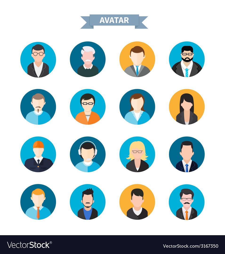 Set of stylish avatars man and woman icons vector | Price: 1 Credit (USD $1)