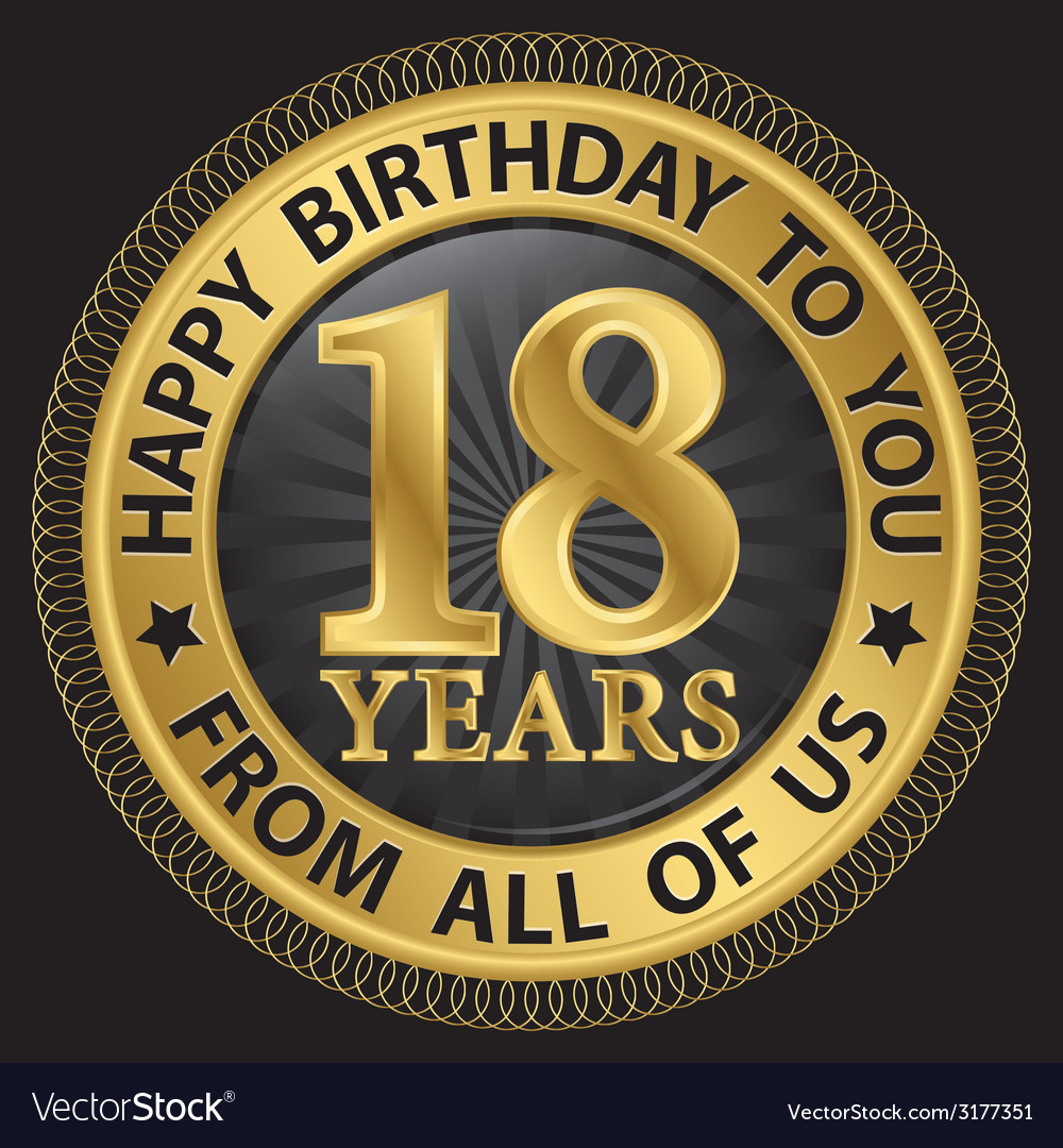 18 years happy birthday to you from all of us gold vector | Price: 1 Credit (USD $1)