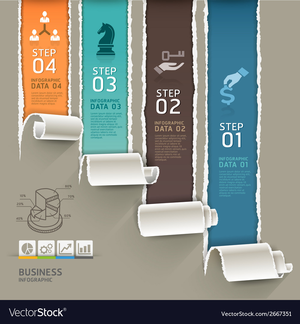 Abstract infographics template torn paper style vector