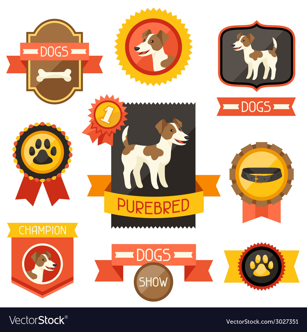 Badges labels ribbons with cute dogs icons and vector | Price: 1 Credit (USD $1)
