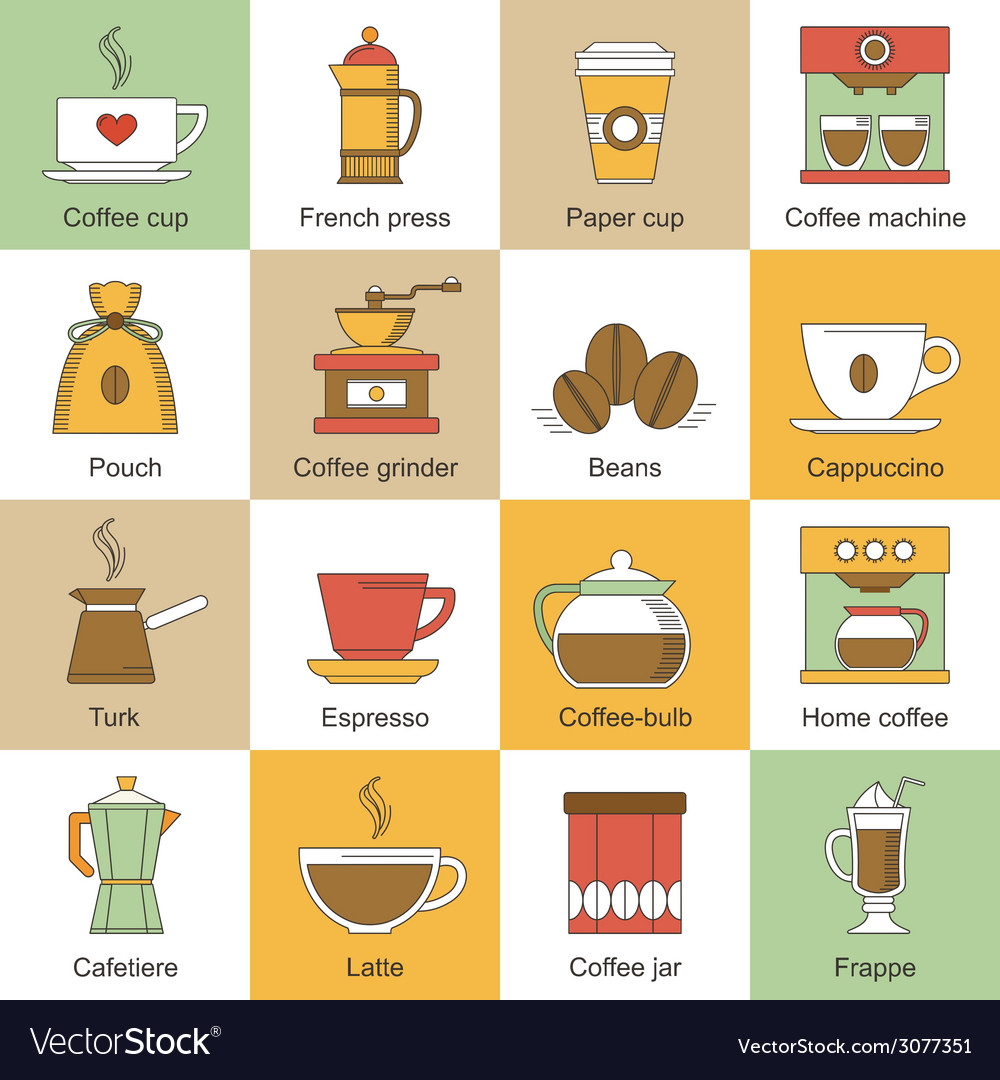 Coffee icons flat vector | Price: 1 Credit (USD $1)