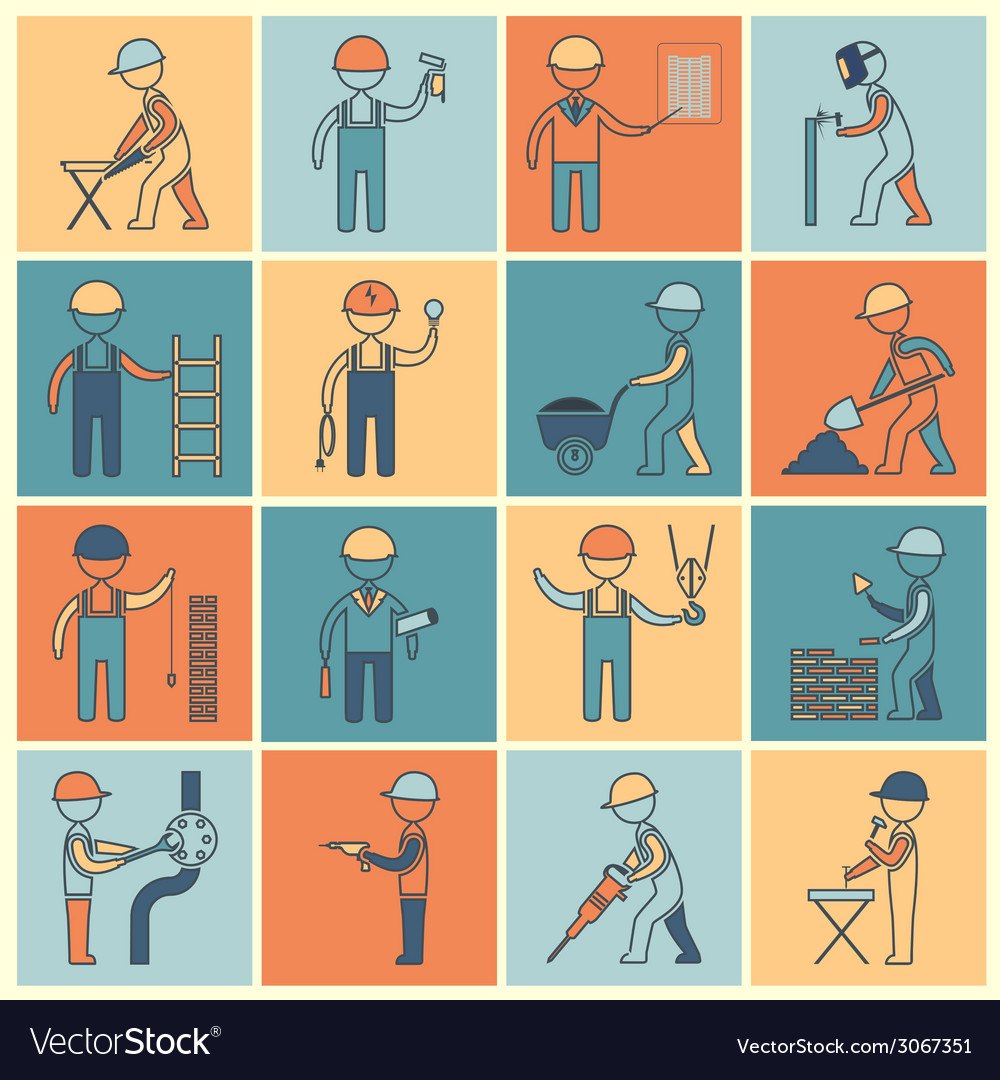 Construction worker icons flat line vector | Price: 1 Credit (USD $1)