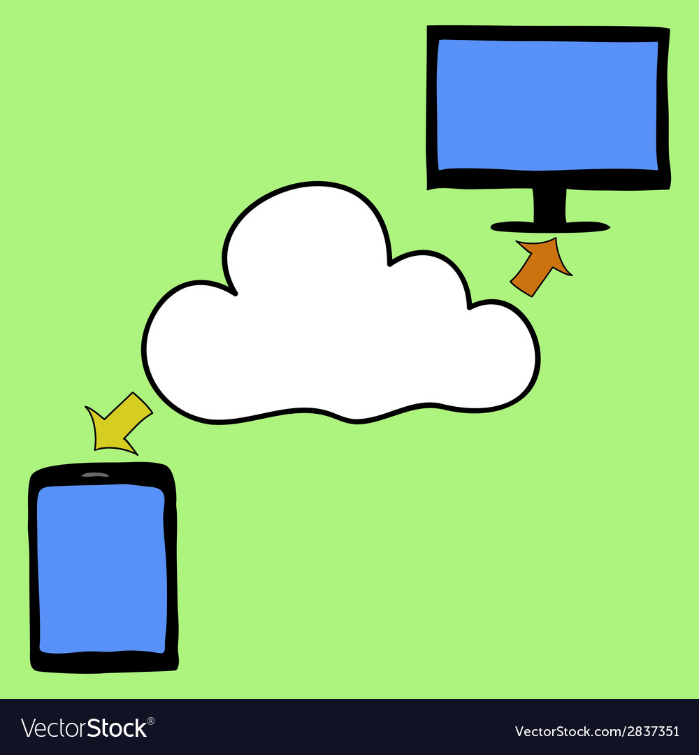 Doodle style tablet pc and cloud vector | Price: 1 Credit (USD $1)