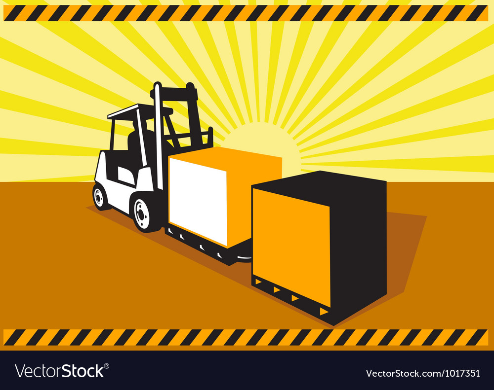 Forklift truck materials handling retro vector | Price: 1 Credit (USD $1)