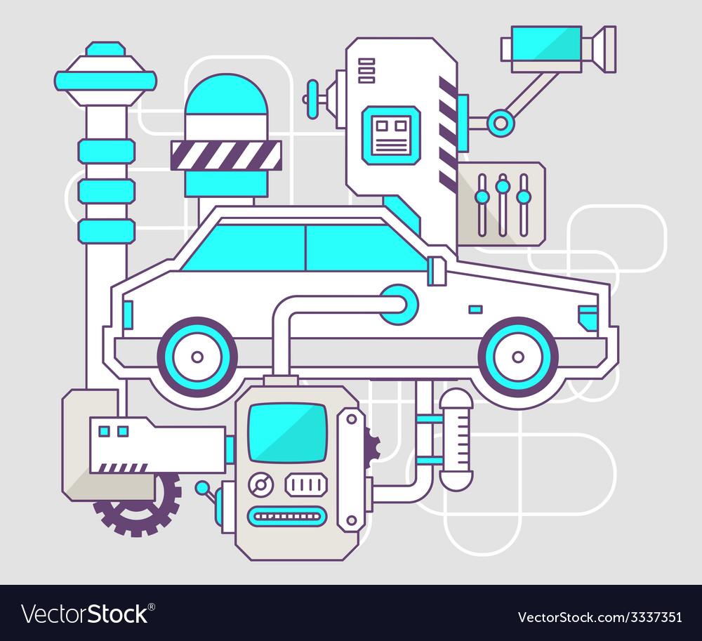 Industrial of the mechanism of car color li vector | Price: 3 Credit (USD $3)