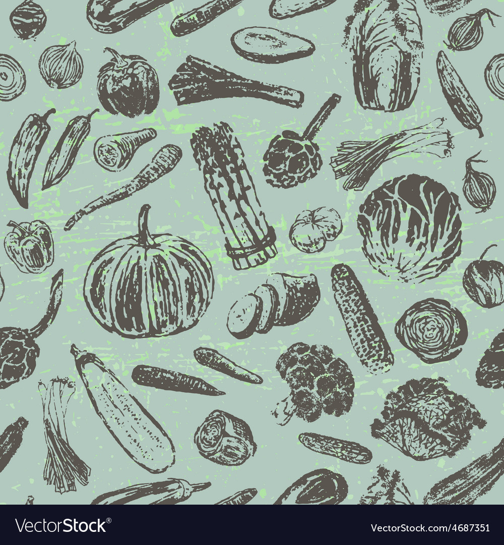 Ink hand drawn vegetables seamless pattern vector | Price: 1 Credit (USD $1)