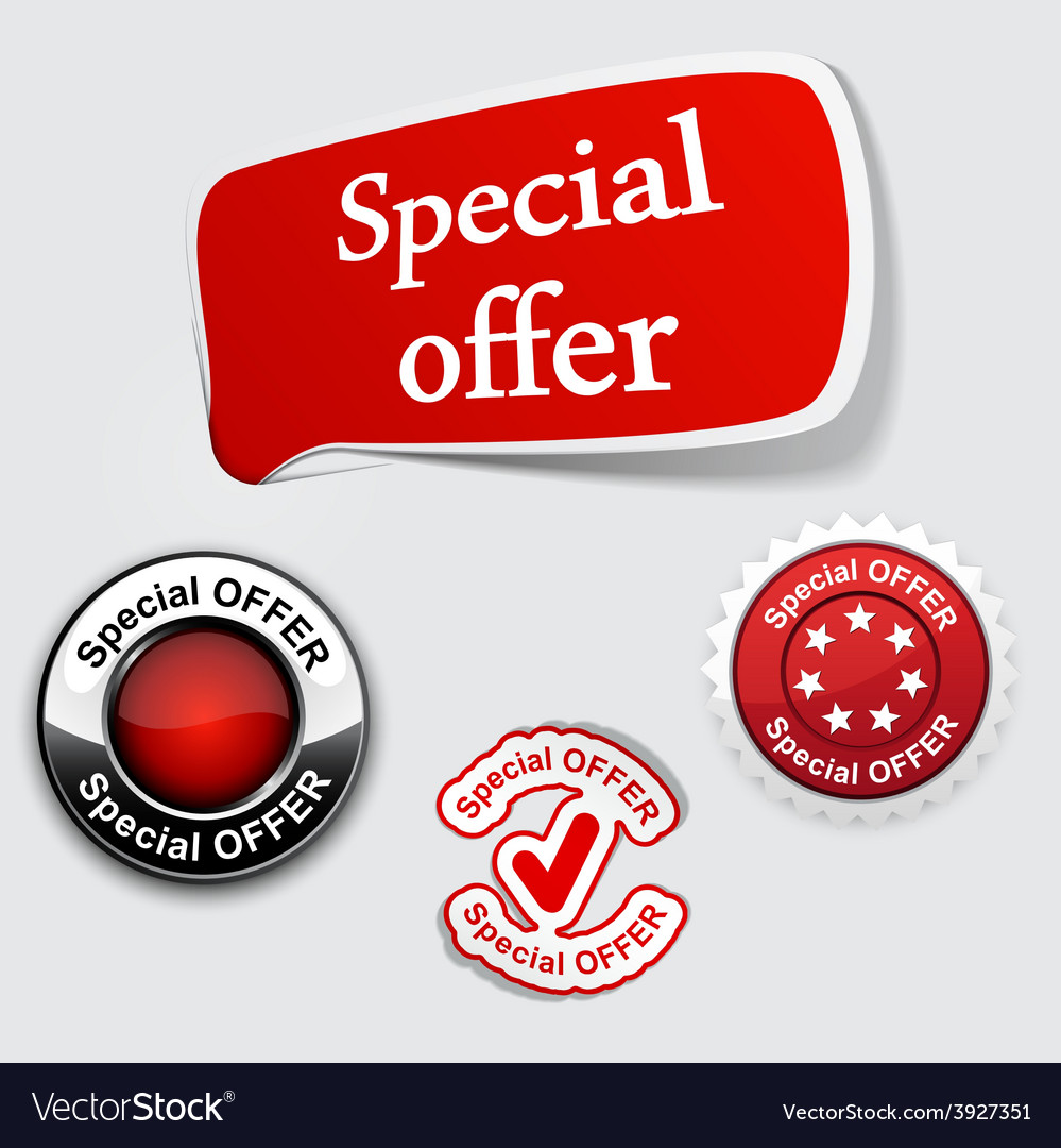 Red set of special offer labels vector | Price: 1 Credit (USD $1)
