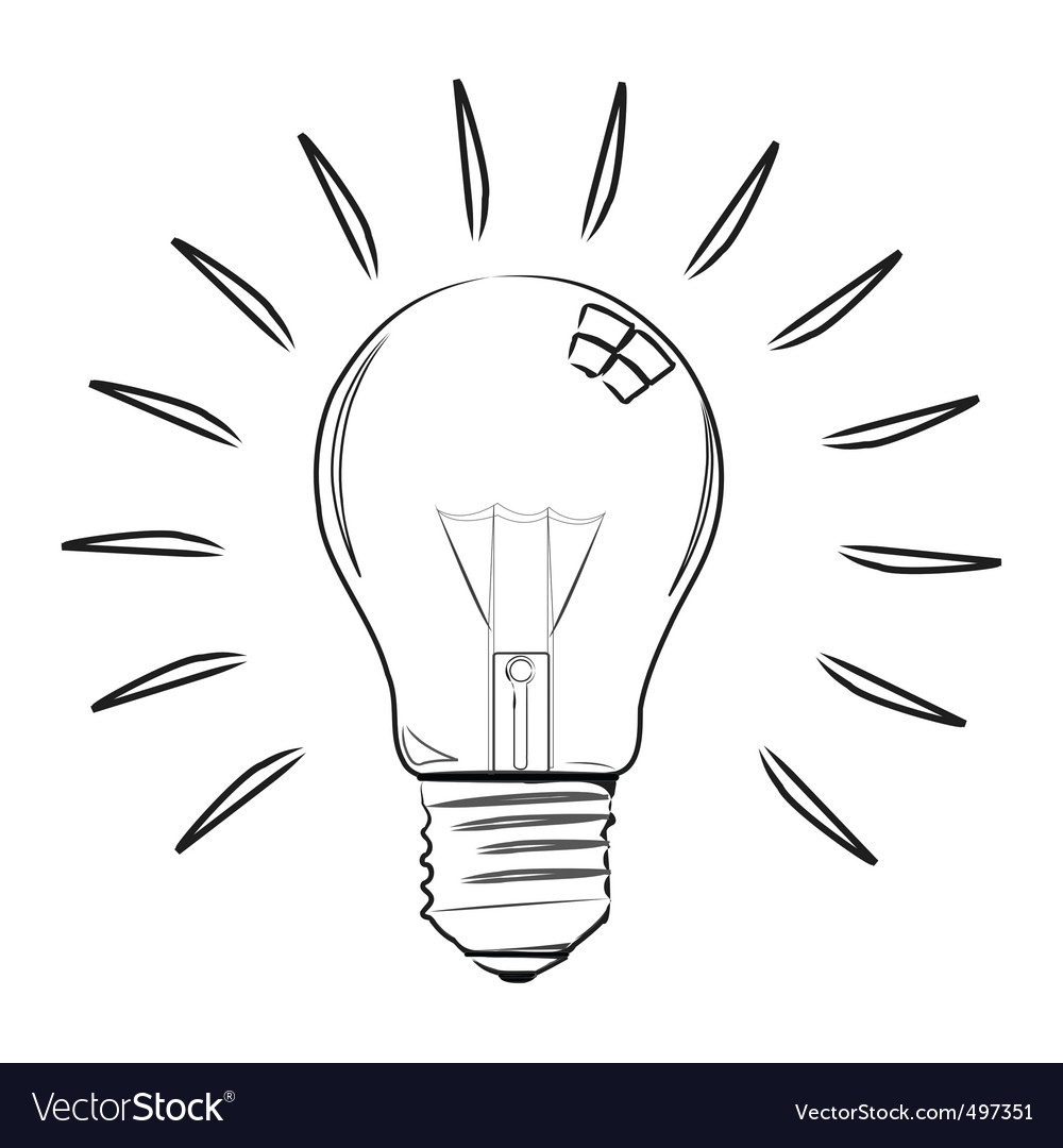 Sketchy electric bulb vector | Price: 1 Credit (USD $1)