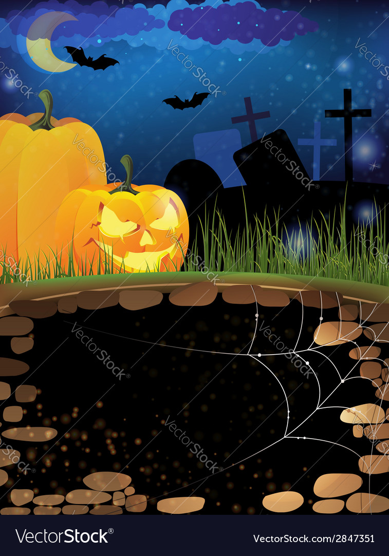 Terrible pumpkins on a night cemetery vector | Price: 1 Credit (USD $1)