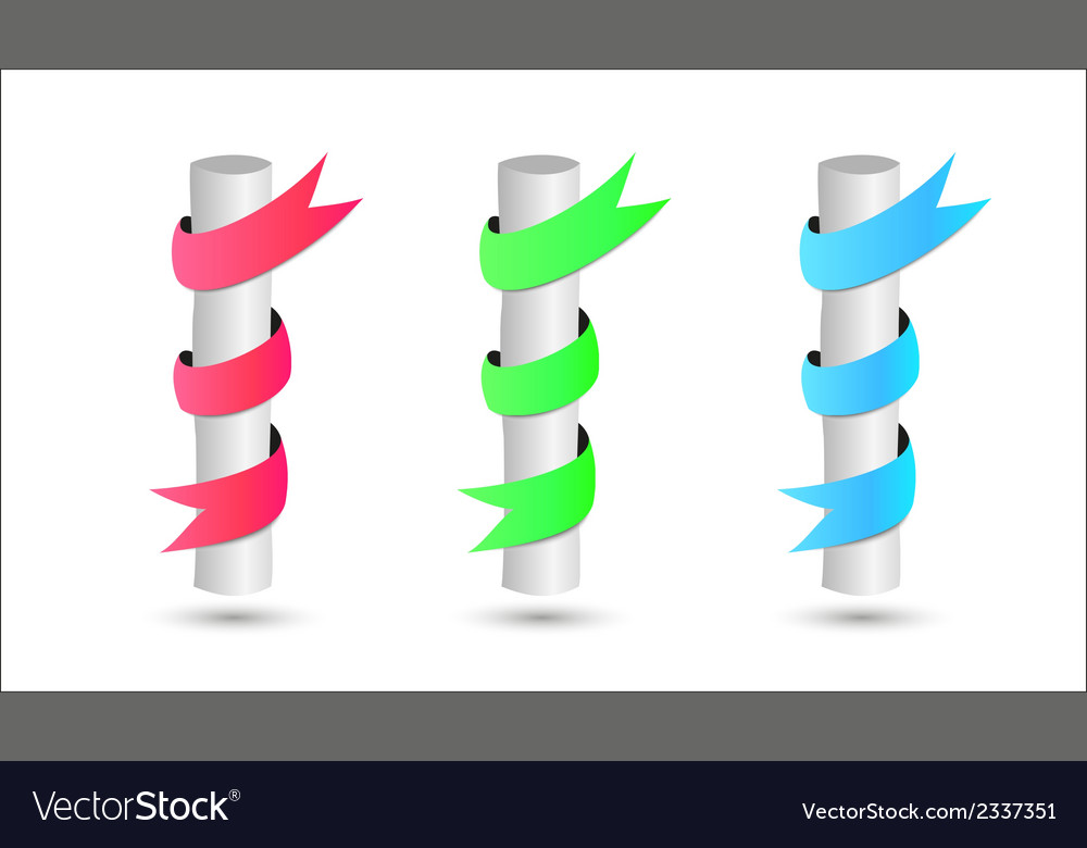 Three steel rods wrapped by color ribbon vector | Price: 1 Credit (USD $1)