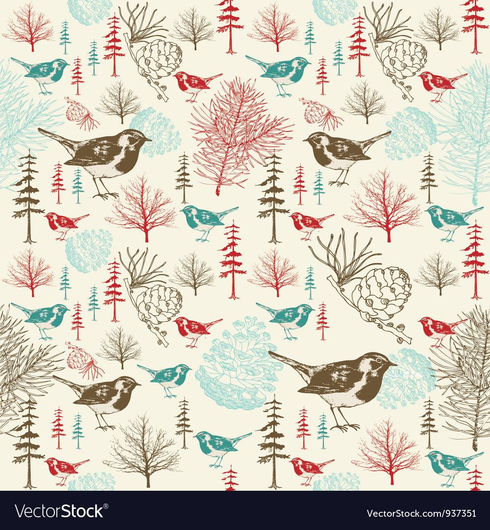 Vintage birds forest pattern vector | Price: 1 Credit (USD $1)