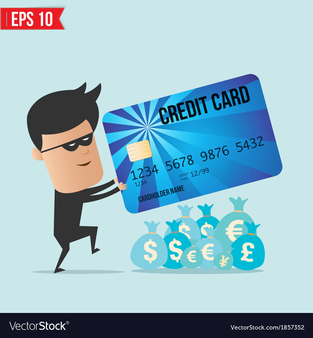 A thief with a credit card vector | Price: 1 Credit (USD $1)
