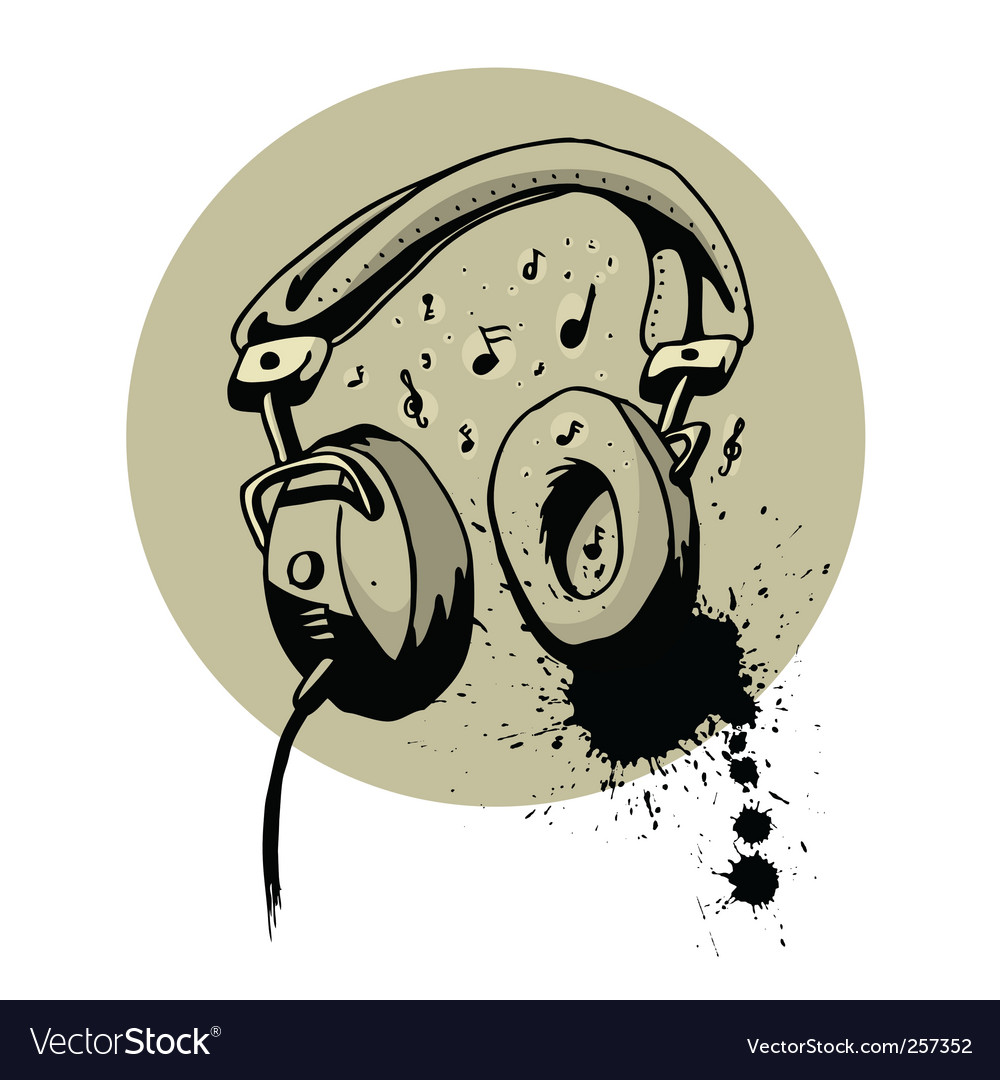 Headphone drawing vector | Price: 1 Credit (USD $1)