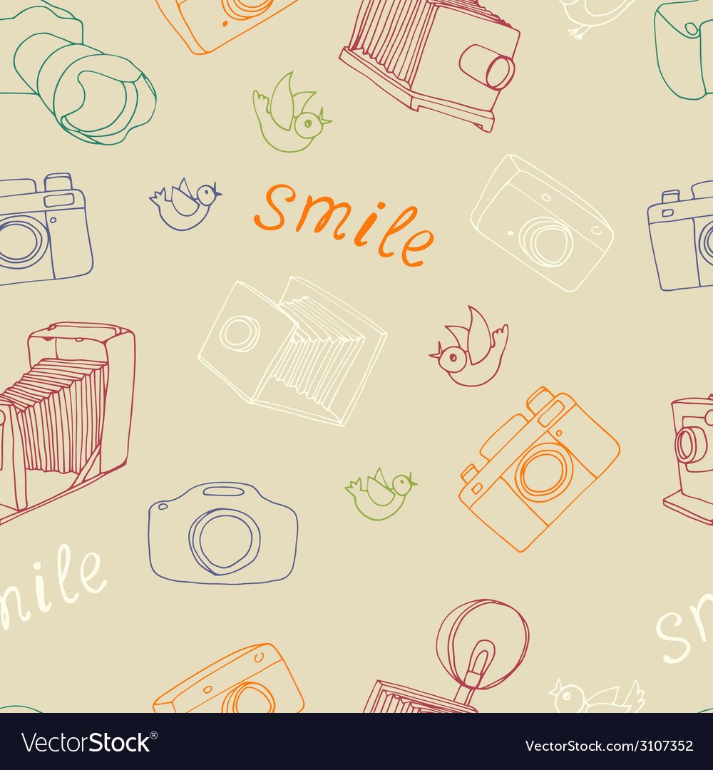 Old camera pattern vector | Price: 1 Credit (USD $1)