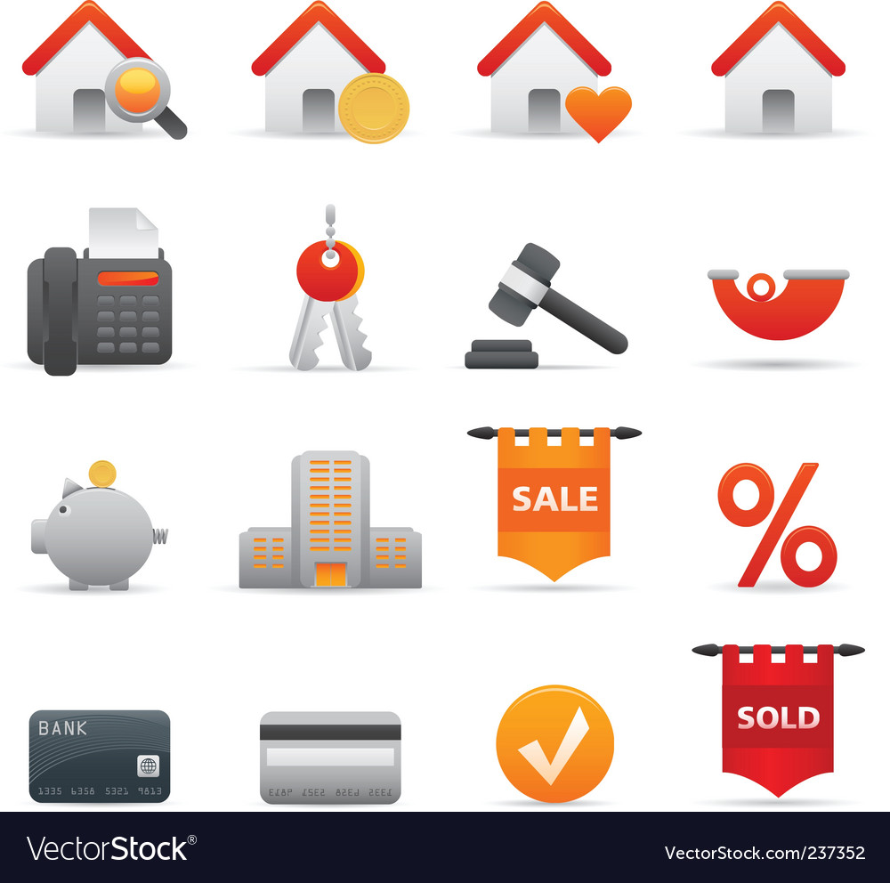 Real state icons  red vector | Price: 1 Credit (USD $1)