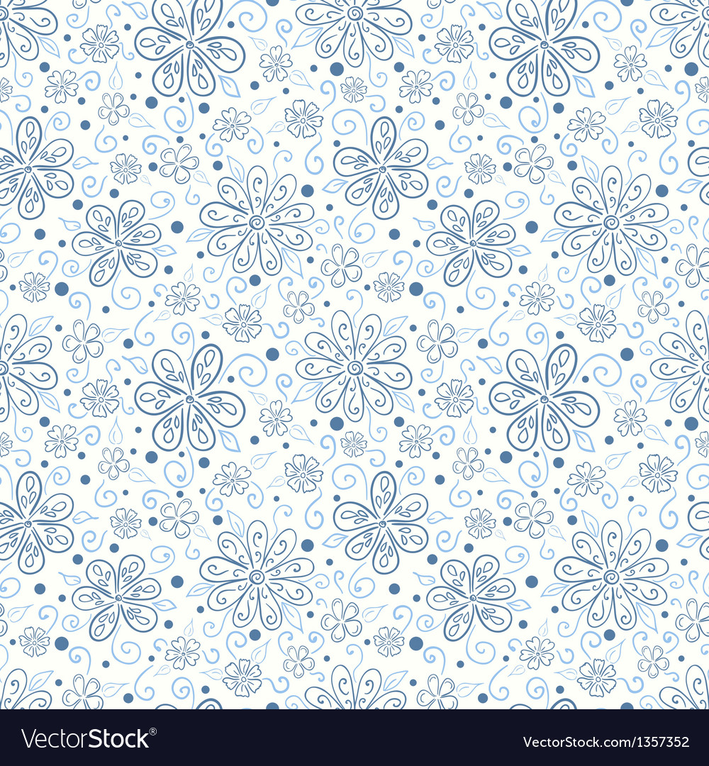 Seamless floral pattern with hand drawn flowers vector | Price: 1 Credit (USD $1)